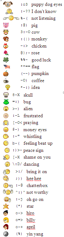 Yahoo Emoticons